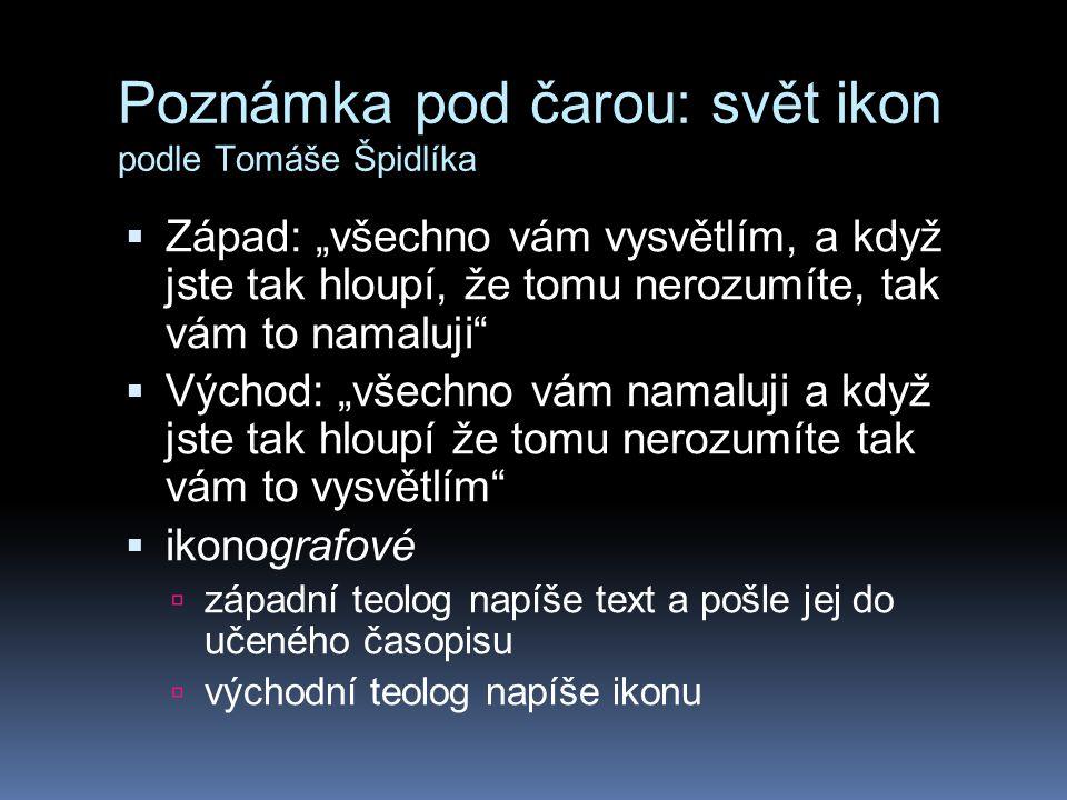 """Poznámka pod čarou: svět ikon podle Tomáše Špidlíka  Západ: """"všechno vám vysvětlím, a když jste tak hloupí, že tomu nerozumíte, tak vám to namaluji"""""""