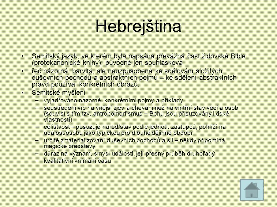 Hebrejština Semitský jazyk, ve kterém byla napsána převážná část židovské Bible (protokanonické knihy); původně jen souhlásková řeč názorná, barvitá,