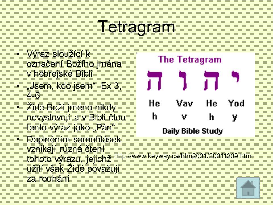 """Tetragram Výraz sloužící k označení Božího jména v hebrejské Bibli """"Jsem, kdo jsem"""" Ex 3, 4-6 Židé Boží jméno nikdy nevyslovují a v Bibli čtou tento v"""
