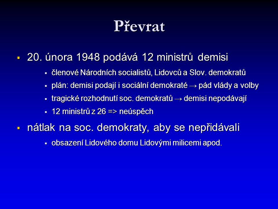 Převrat  20. února 1948 podává 12 ministrů demisi  členové Národních socialistů, Lidovců a Slov. demokratů  plán: demisi podají i sociální demokrat
