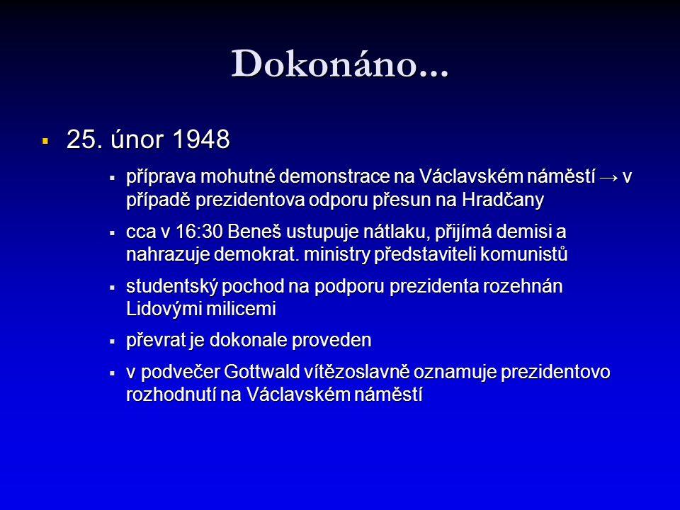 Dokonáno...  25. únor 1948  příprava mohutné demonstrace na Václavském náměstí → v případě prezidentova odporu přesun na Hradčany  cca v 16:30 Bene