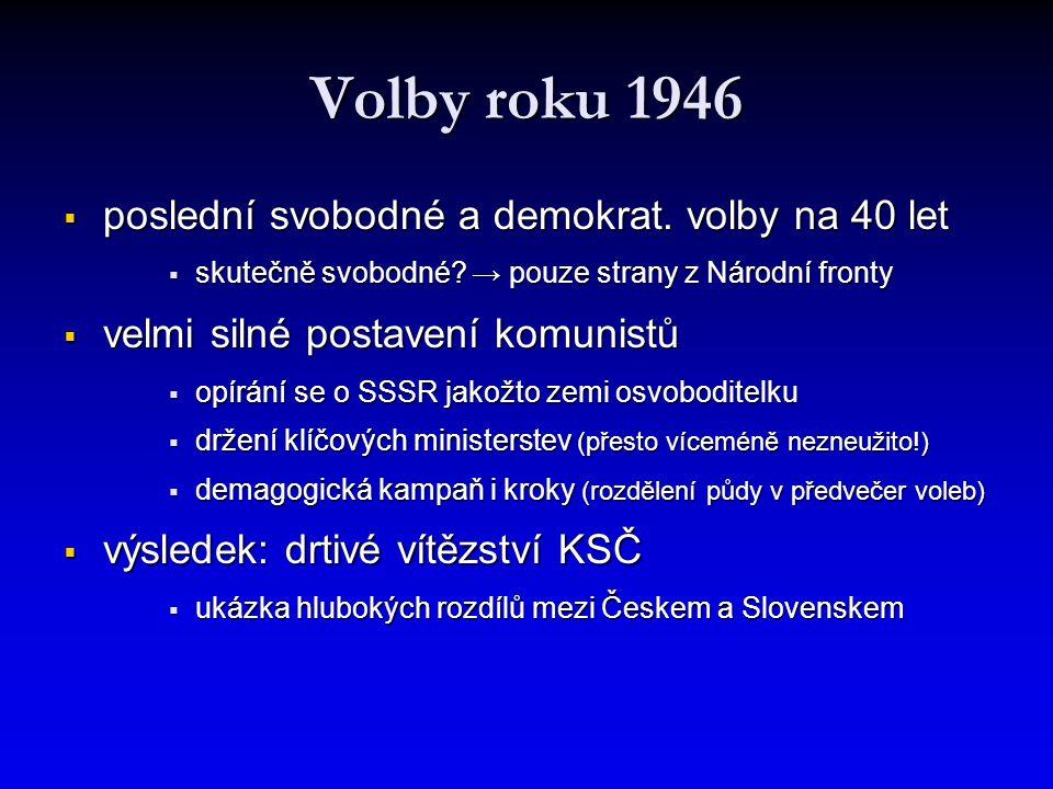 Volby roku 1946  poslední svobodné a demokrat. volby na 40 let  skutečně svobodné? → pouze strany z Národní fronty  velmi silné postavení komunistů