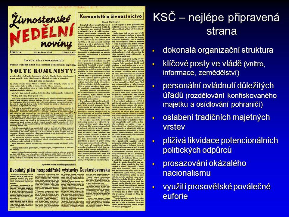 KSČ – nejlépe připravená strana  dokonalá organizační struktura  klíčové posty ve vládě (vnitro, informace, zemědělství)  personální ovládnutí důle