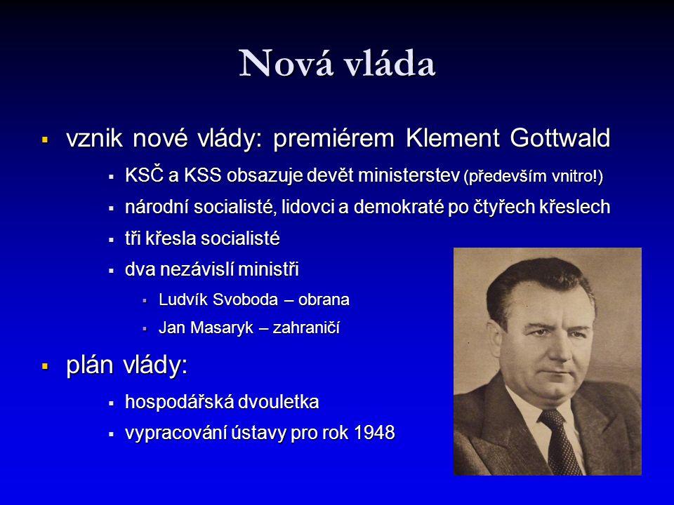 Nová vláda  vznik nové vlády: premiérem Klement Gottwald  KSČ a KSS obsazuje devět ministerstev (především vnitro!)  národní socialisté, lidovci a