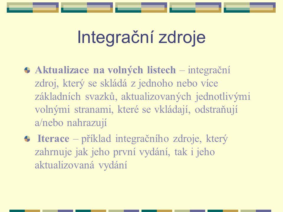 Integrační zdroje Aktualizace na volných listech – integrační zdroj, který se skládá z jednoho nebo více základních svazků, aktualizovaných jednotlivý