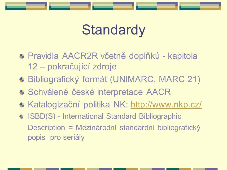 Standardy Pravidla AACR2R včetně doplňků - kapitola 12 – pokračující zdroje Bibliografický formát (UNIMARC, MARC 21) Schválené české interpretace AACR