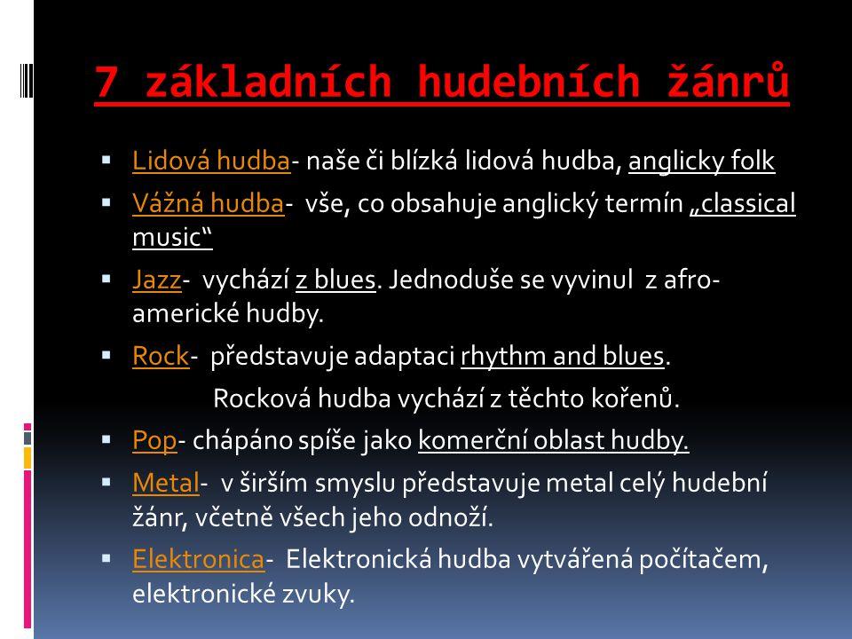 """7 základních hudebních žánrů  Lidová hudba- naše či blízká lidová hudba, anglicky folk Lidová hudba  Vážná hudba- vše, co obsahuje anglický termín """"classical music Vážná hudba  Jazz- vychází z blues."""