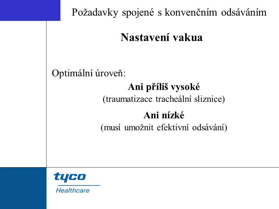 Nastavení vakua Optimální úroveň: Ani příliš vysoké (traumatizace tracheální sliznice) Ani nízké (musí umožnit efektivní odsávání) Požadavky spojené s