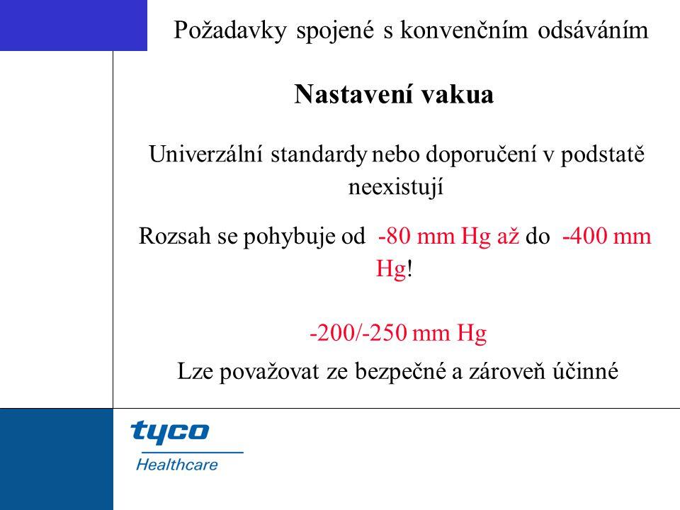 Univerzální standardy nebo doporučení v podstatě neexistují Rozsah se pohybuje od -80 mm Hg až do -400 mm Hg! -200/-250 mm Hg Lze považovat ze bezpečn