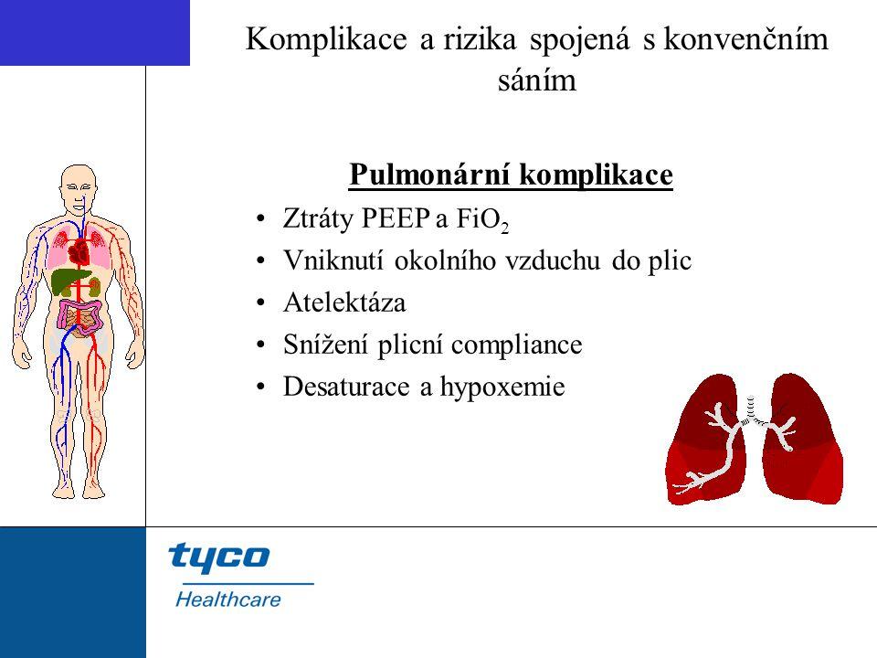 Pulmonární komplikace Ztráty PEEP a FiO 2 Vniknutí okolního vzduchu do plic Atelektáza Snížení plicní compliance Desaturace a hypoxemie Komplikace a r