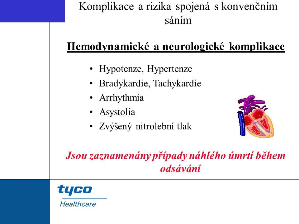 Hemodynamické a neurologické komplikace Hypotenze, Hypertenze Bradykardie, Tachykardie Arrhythmia Asystolia Zvýšený nitrolební tlak Jsou zaznamenány p