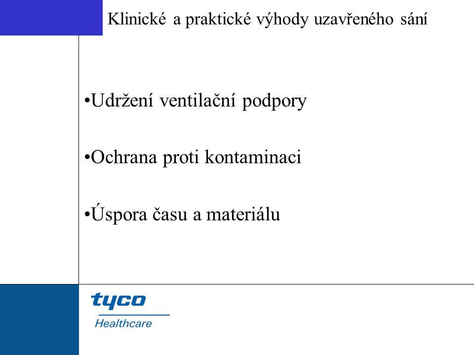Klinické a praktické výhody uzavřeného sání Udržení ventilační podpory Ochrana proti kontaminaci Úspora času a materiálu