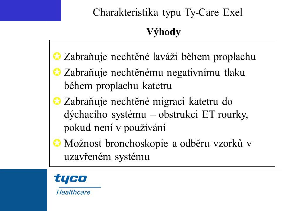 Výhody Charakteristika typu Ty-Care Exel  Zabraňuje nechtěné laváži během proplachu  Zabraňuje nechtěnému negativnímu tlaku během proplachu katetru