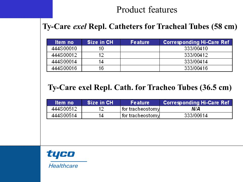 Product features Ty-Care exel Repl. Catheters for Tracheal Tubes (58 cm) Ty-Care exel Repl. Cath. for Tracheo Tubes (36.5 cm)