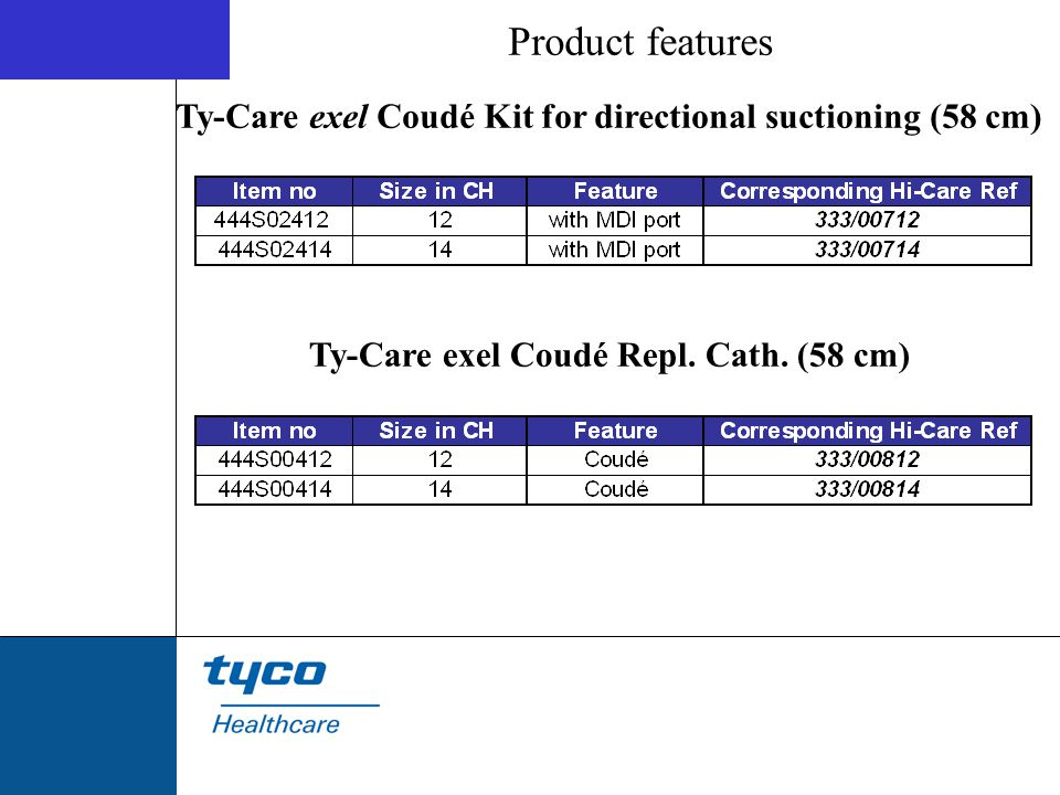 Product features Ty-Care exel Coudé Kit for directional suctioning (58 cm) Ty-Care exel Coudé Repl. Cath. (58 cm)