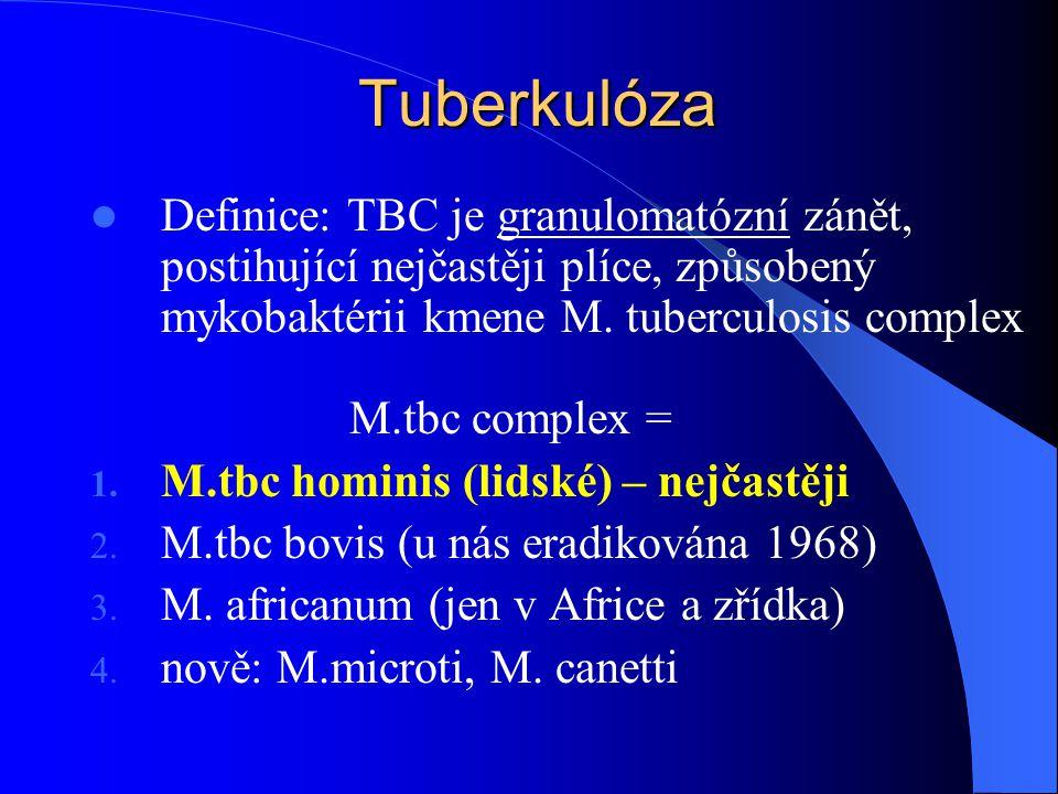 Tuberkulóza Definice: TBC je granulomatózní zánět, postihující nejčastěji plíce, způsobený mykobaktérii kmene M.