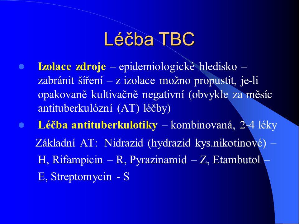 Léčba TBC Izolace zdroje – epidemiologické hledisko – zabránit šíření – z izolace možno propustit, je-li opakovaně kultivačně negativní (obvykle za měsíc antituberkulózní (AT) léčby) Léčba antituberkulotiky – kombinovaná, 2-4 léky Základní AT: Nidrazid (hydrazid kys.nikotinové) – H, Rifampicin – R, Pyrazinamid – Z, Etambutol – E, Streptomycin - S
