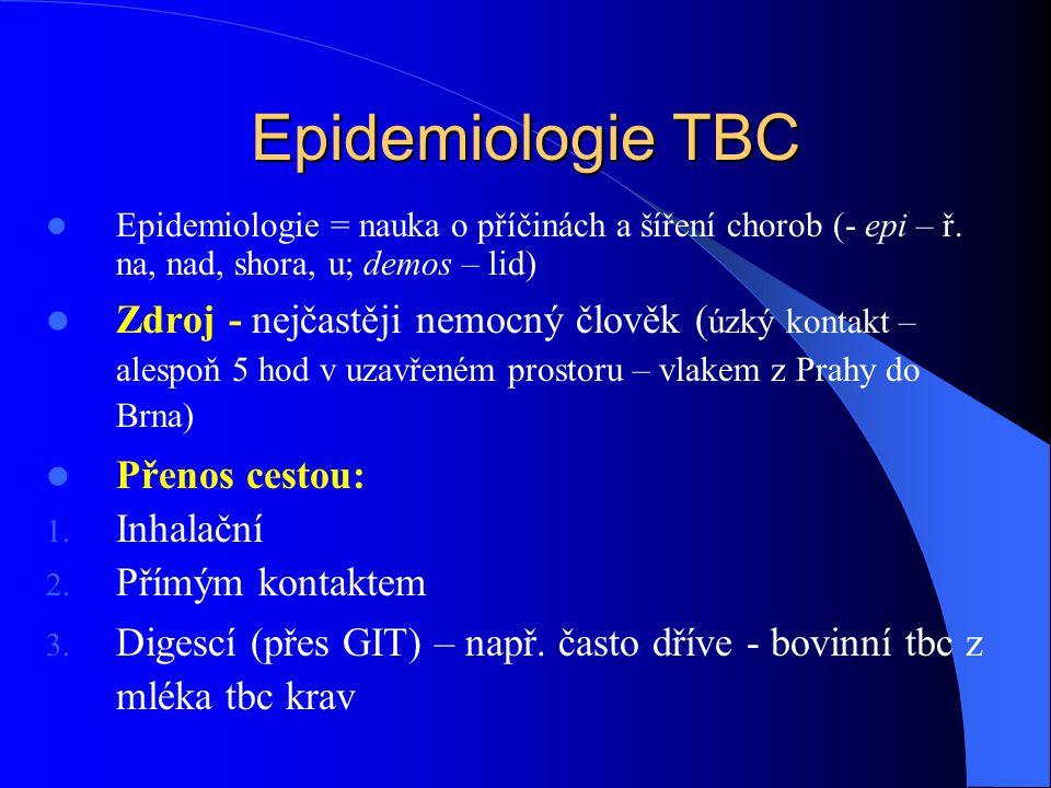 Epidemiologie TBC Epidemiologie = nauka o příčinách a šíření chorob (- epi – ř.
