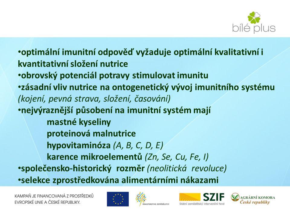 optimální imunitní odpověď vyžaduje optimální kvalitativní i kvantitativní složení nutrice obrovský potenciál potravy stimulovat imunitu zásadní vliv