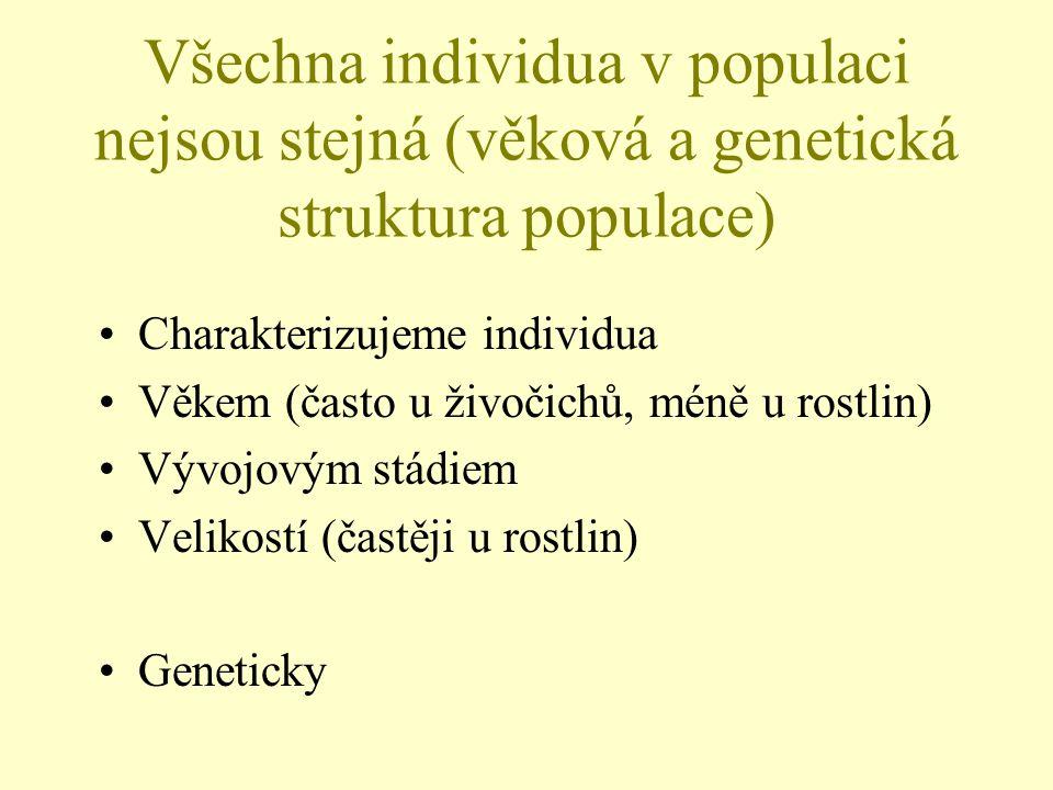 Všechna individua v populaci nejsou stejná (věková a genetická struktura populace) Charakterizujeme individua Věkem (často u živočichů, méně u rostlin