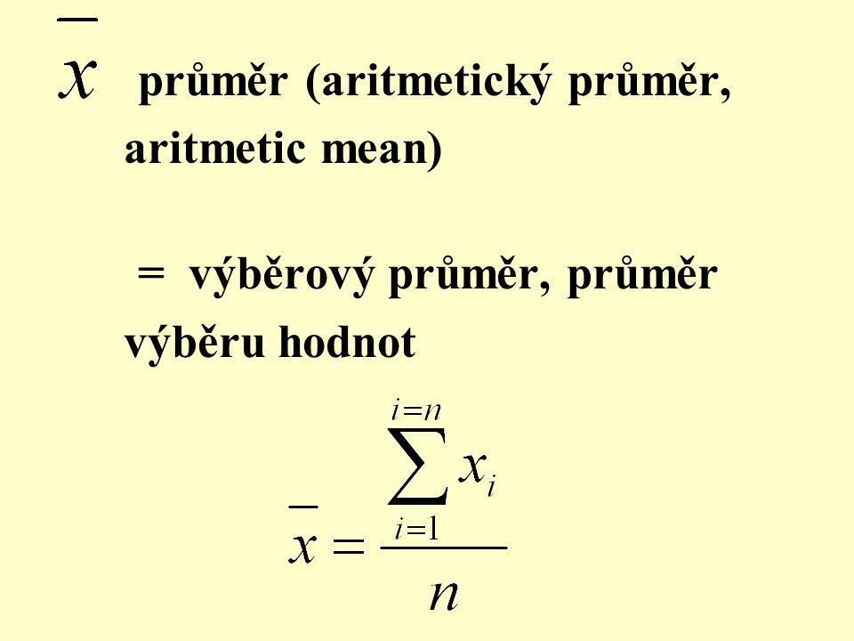 průměr (aritmetický průměr, aritmetic mean) = výběrový průměr, průměr výběru hodnot