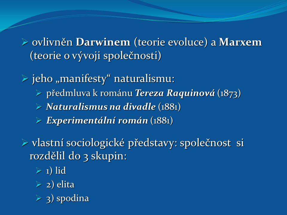 """ ovlivněn Darwinem (teorie evoluce) a Marxem (teorie o vývoji společnosti)  jeho """"manifesty"""" naturalismu:  předmluva k románu Tereza Raquinová (187"""