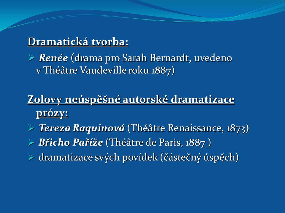 Dramatická tvorba:  Renée (drama pro Sarah Bernardt, uvedeno v Théâtre Vaudeville roku 1887) Zolovy neúspěšné autorské dramatizace prózy:  Tereza Ra