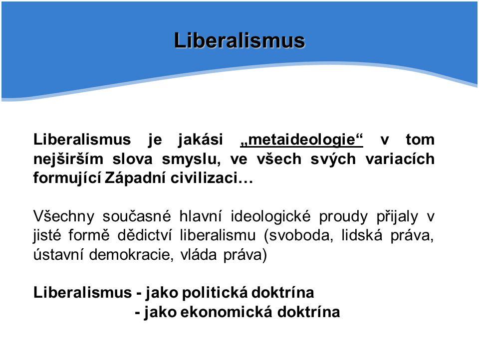 """Liberalismus Liberalismus je jakási """"metaideologie v tom nejširším slova smyslu, ve všech svých variacích formující Západní civilizaci… Všechny současné hlavní ideologické proudy přijaly v jisté formě dědictví liberalismu (svoboda, lidská práva, ústavní demokracie, vláda práva) Liberalismus - jako politická doktrína - jako ekonomická doktrína"""