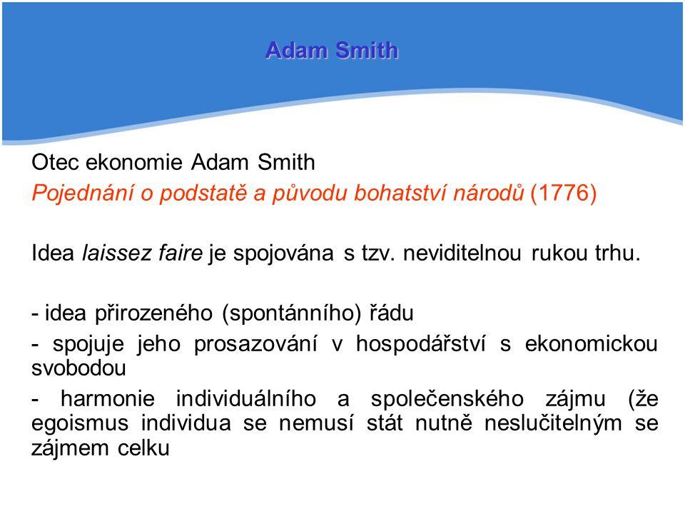 Otec ekonomie Adam Smith Pojednání o podstatě a původu bohatství národů (1776) Idea laissez faire je spojována s tzv.