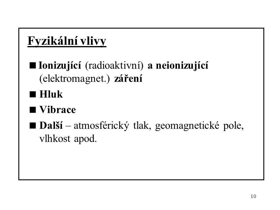 10 Fyzikální vlivy  Ionizující (radioaktivní) a neionizující (elektromagnet.) záření  Hluk  Vibrace  Další – atmosférický tlak, geomagnetické pole