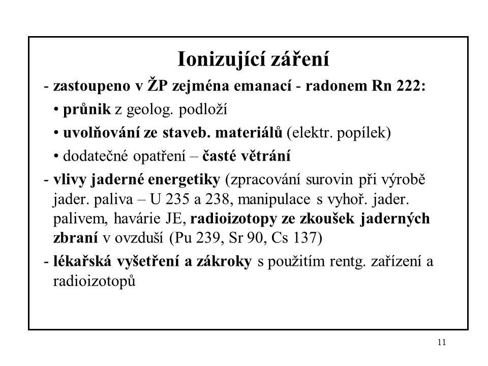 11 Ionizující záření -zastoupeno v ŽP zejména emanací - radonem Rn 222: průnik z geolog. podloží uvolňování ze staveb. materiálů (elektr. popílek) dod
