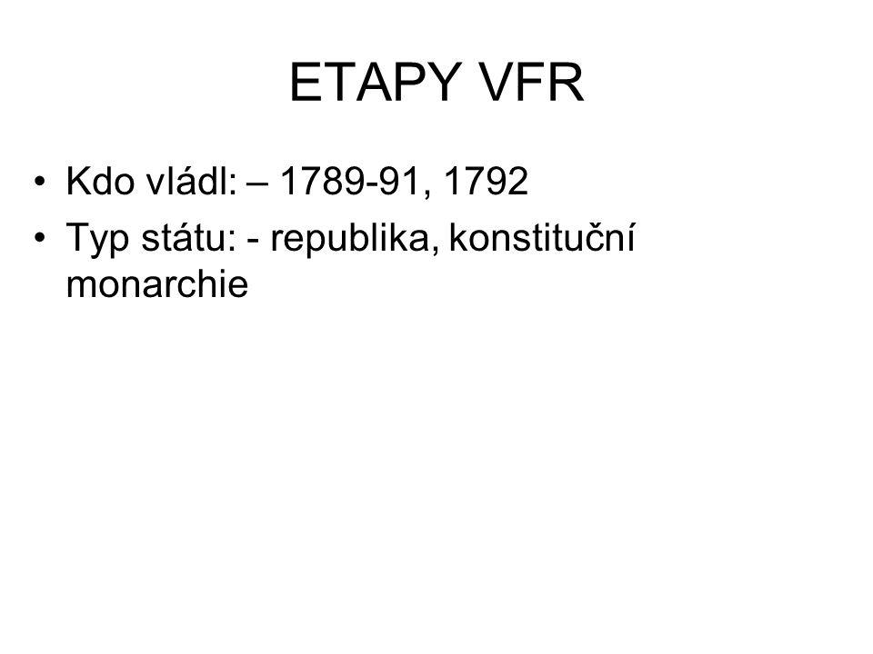 ETAPY VFR Kdo vládl: – 1789-91, 1792 Typ státu: - republika, konstituční monarchie