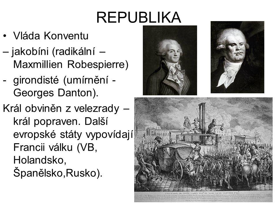 REPUBLIKA Vláda Konventu – jakobíni (radikální – Maxmillien Robespierre) -girondisté (umírnění - Georges Danton). Král obviněn z velezrady – král popr