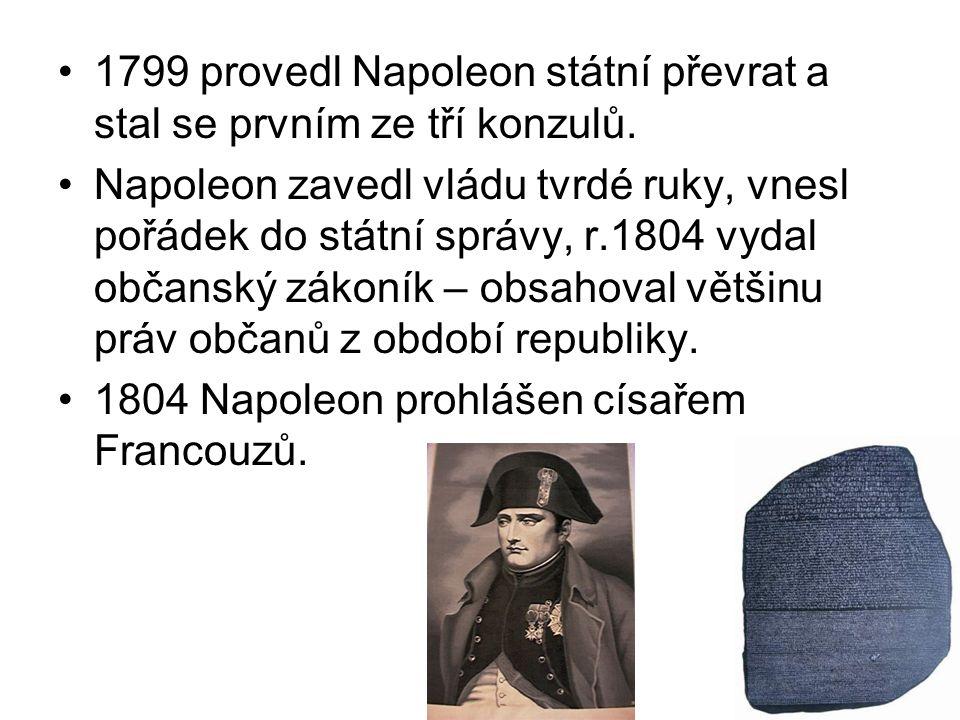 1799 provedl Napoleon státní převrat a stal se prvním ze tří konzulů. Napoleon zavedl vládu tvrdé ruky, vnesl pořádek do státní správy, r.1804 vydal o