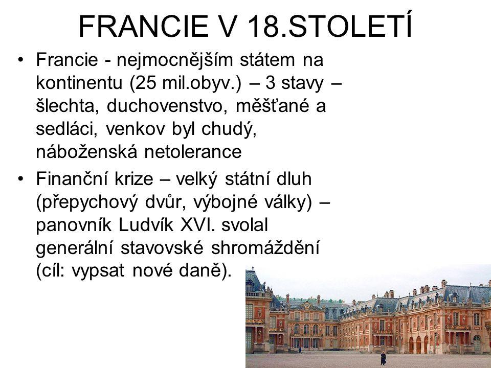 FRANCIE V 18.STOLETÍ Francie - nejmocnějším státem na kontinentu (25 mil.obyv.) – 3 stavy – šlechta, duchovenstvo, měšťané a sedláci, venkov byl chudý