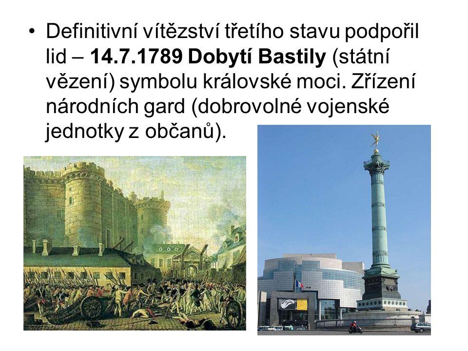Definitivní vítězství třetího stavu podpořil lid – 14.7.1789 Dobytí Bastily (státní vězení) symbolu královské moci. Zřízení národních gard (dobrovolné