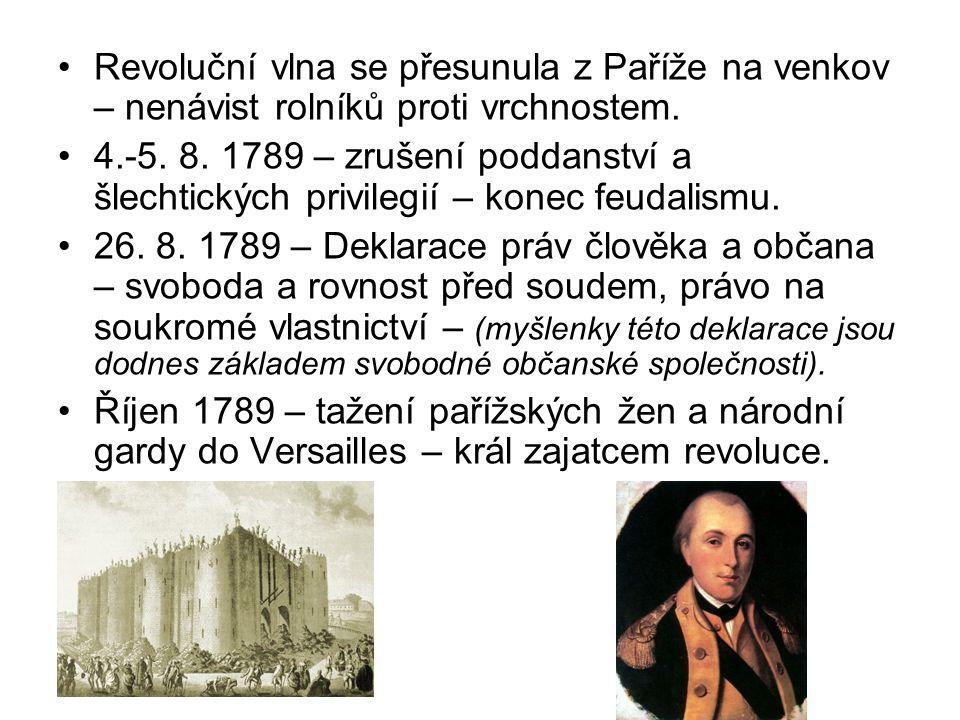 Revoluční vlna se přesunula z Paříže na venkov – nenávist rolníků proti vrchnostem. 4.-5. 8. 1789 – zrušení poddanství a šlechtických privilegií – kon