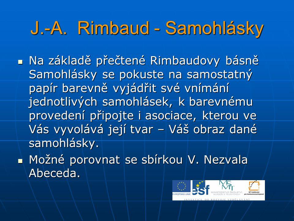 J.-A. Rimbaud - Samohlásky Na základě přečtené Rimbaudovy básně Samohlásky se pokuste na samostatný papír barevně vyjádřit své vnímání jednotlivých sa