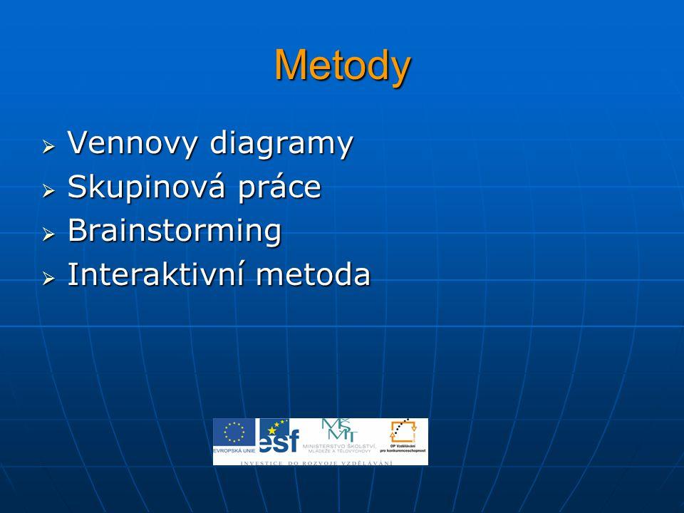 Metody  Vennovy diagramy  Skupinová práce  Brainstorming  Interaktivní metoda