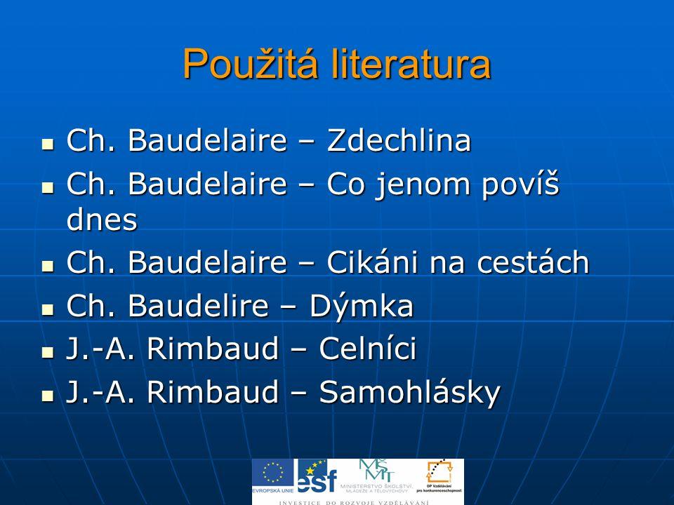 Použitá literatura Ch. Baudelaire – Zdechlina Ch. Baudelaire – Zdechlina Ch. Baudelaire – Co jenom povíš dnes Ch. Baudelaire – Co jenom povíš dnes Ch.