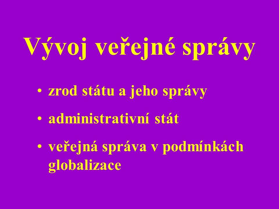 Vývoj veřejné správy zrod státu a jeho správy administrativní stát veřejná správa v podmínkách globalizace