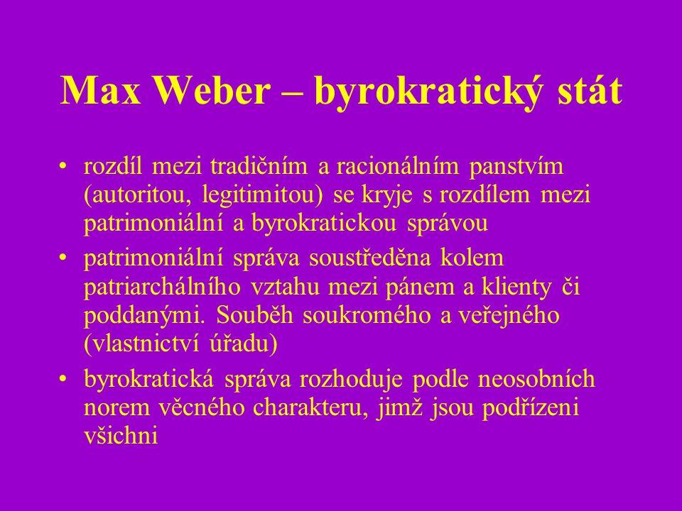 Max Weber – byrokratický stát rozdíl mezi tradičním a racionálním panstvím (autoritou, legitimitou) se kryje s rozdílem mezi patrimoniální a byrokrati