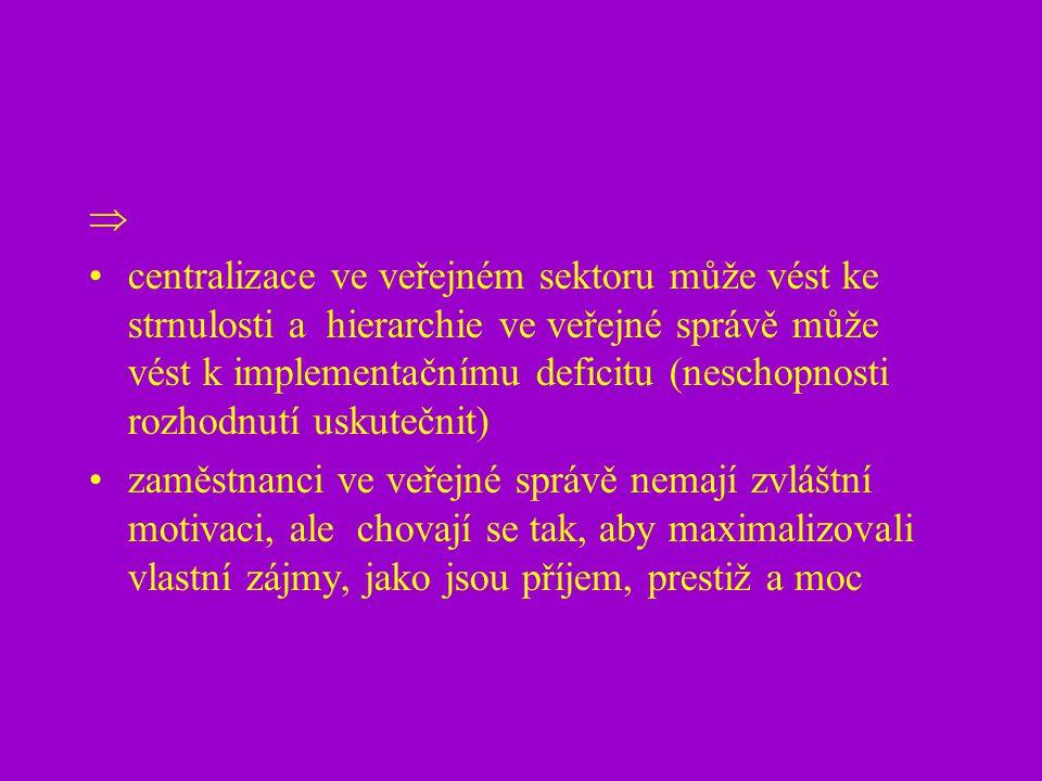  centralizace ve veřejném sektoru může vést ke strnulosti a hierarchie ve veřejné správě může vést k implementačnímu deficitu (neschopnosti rozhodnut