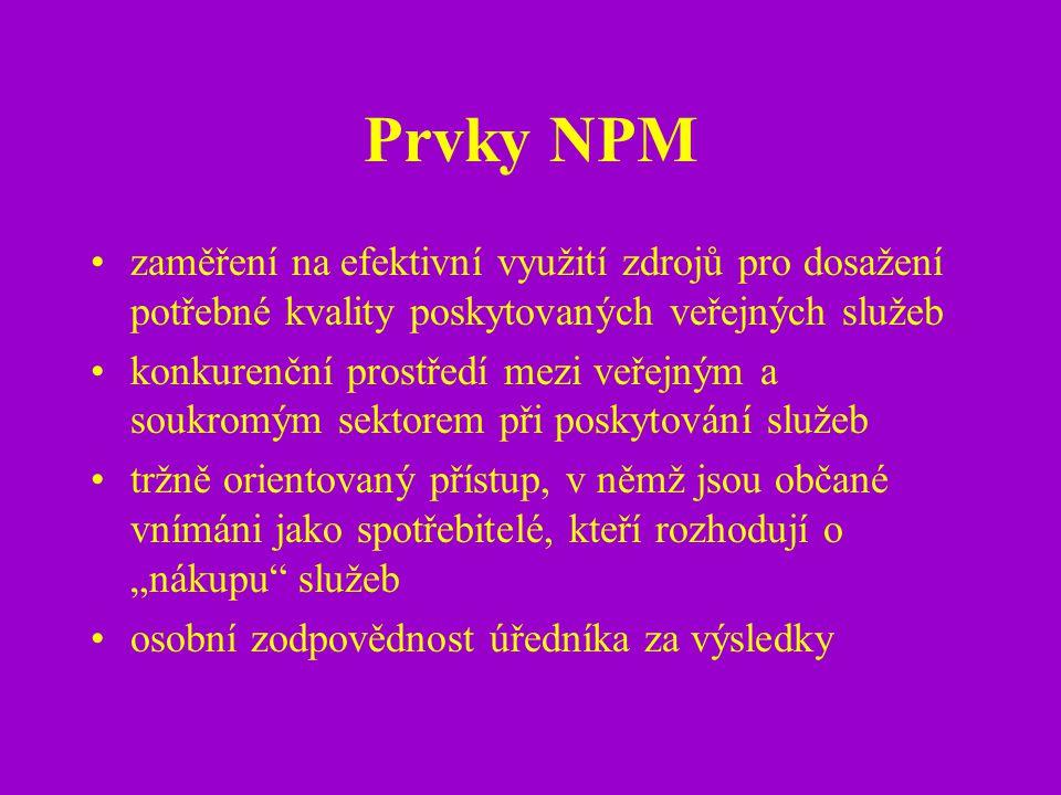 Prvky NPM zaměření na efektivní využití zdrojů pro dosažení potřebné kvality poskytovaných veřejných služeb konkurenční prostředí mezi veřejným a souk