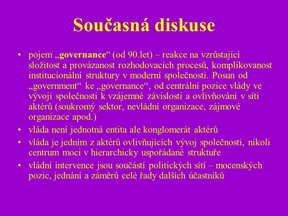 """Současná diskuse pojem """"governance"""" (od 90.let) – reakce na vzrůstající složitost a provázanost rozhodovacích procesů, komplikovanost institucionální"""