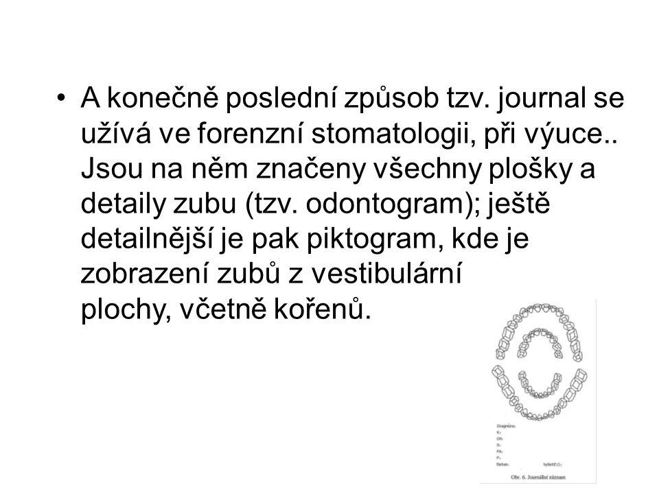 A konečně poslední způsob tzv.journal se užívá ve forenzní stomatologii, při výuce..