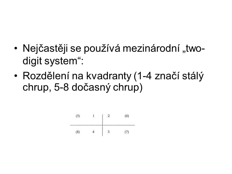 """Nejčastěji se používá mezinárodní """"two- digit system"""": Rozdělení na kvadranty (1-4 značí stálý chrup, 5-8 dočasný chrup)"""