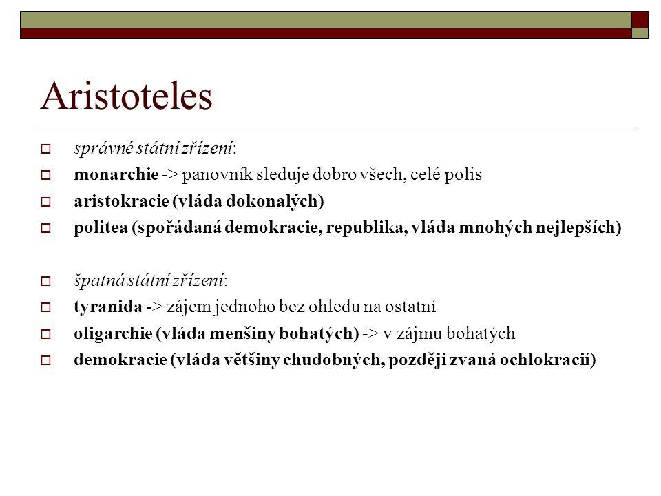 Aristoteles  správné státní zřízení:  monarchie -> panovník sleduje dobro všech, celé polis  aristokracie (vláda dokonalých)  politea (spořádaná d