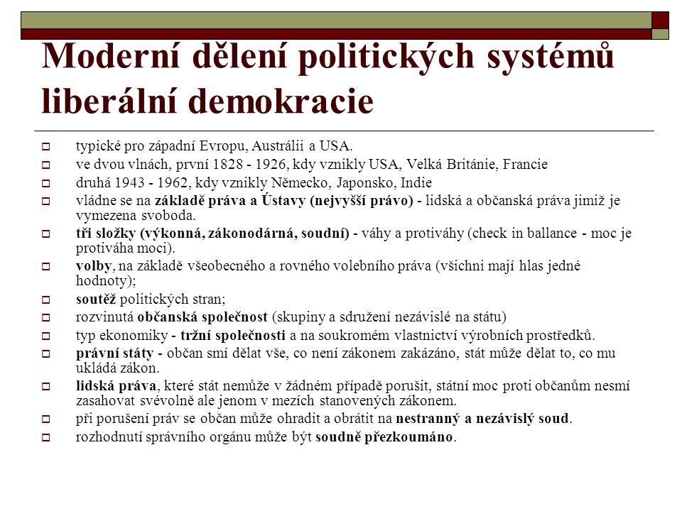 Moderní dělení politických systémů liberální demokracie  typické pro západní Evropu, Austrálii a USA.  ve dvou vlnách, první 1828 - 1926, kdy vznikl