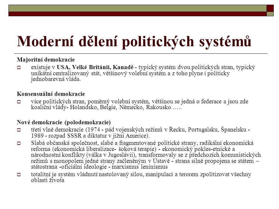 Moderní dělení politických systémů Majoritní demokracie  existuje v USA, Velké Británii, Kanadě - typický systém dvou politických stran, typický unik